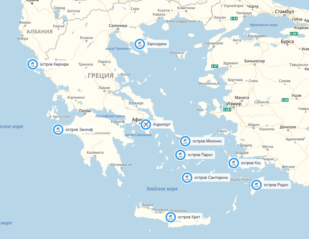 Статическая карта курортов Греции для мобильных телефонов