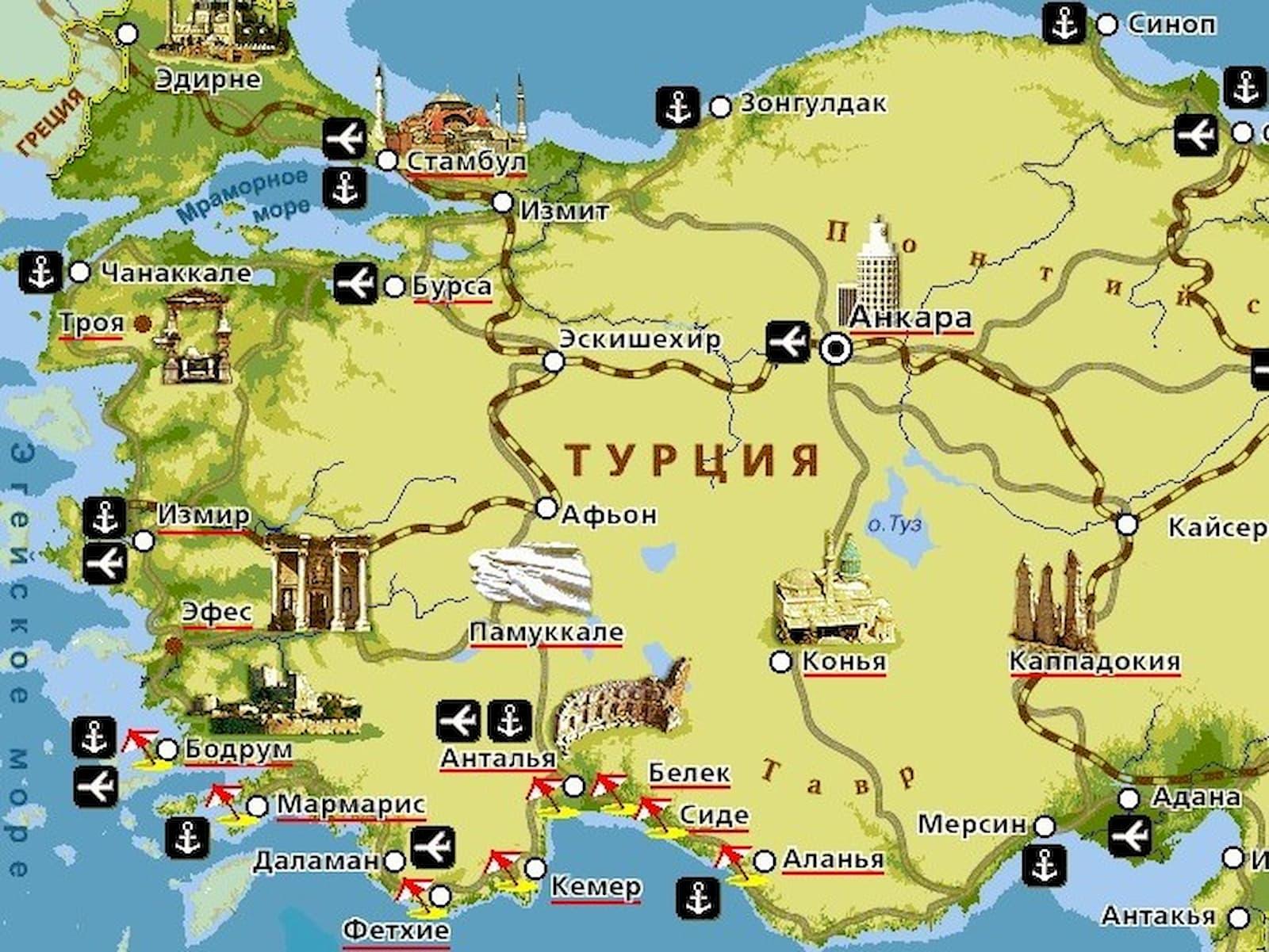 Карта с курортами Турции – где, почем, чем заняться и куда ехать.